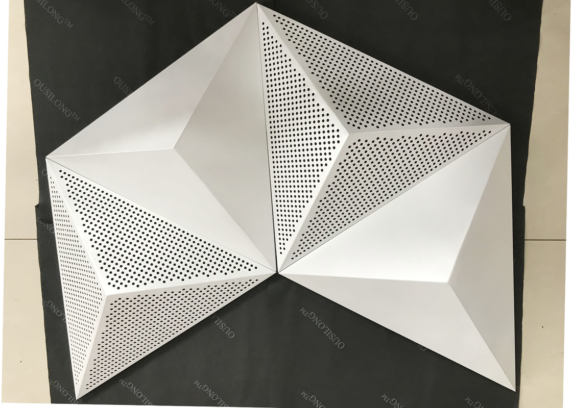 Powder Coat Pearl White Commercial Ceiling Tiles , 3D Triangle Clip Floating Ceiling Tiles