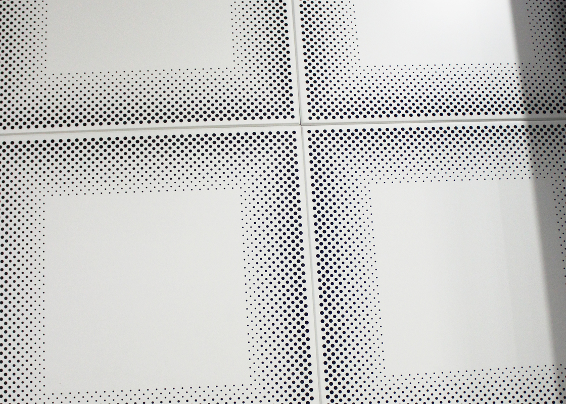 Metal Front Perforated Aluminum Acoustic Panels for Ceiling 12 x 12 Ceiling Tiles , SGS