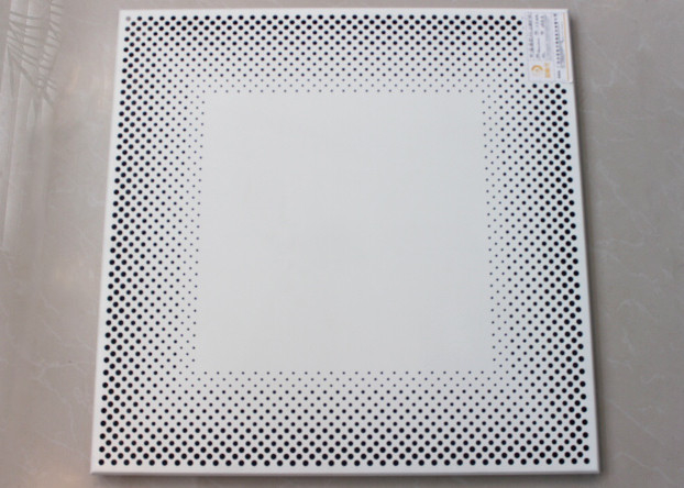 White Perforated Metal Ceiling tiles Tegular of Punching Holes PA6012T